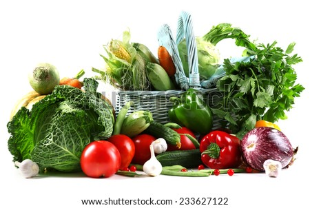 Fresh organic vegetables, isolated on white - stock photo