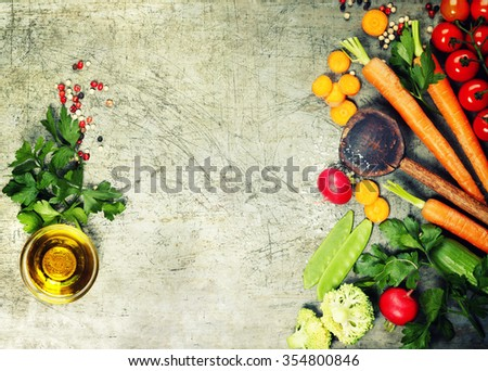 Fresh organic vegetables on rustic background. Healthy food. Vegetarian eating. Fresh harvest from the garden. Background layout with free text space. - stock photo