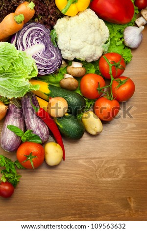 Fresh Organic Vegetables /  on the Wooden Desk / with Water Droplets