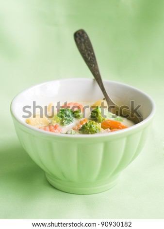 Fresh, organic  vegetables soup, selective focus - stock photo