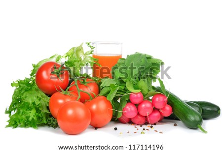 Fresh organic vegetables tomatoes, salad, radish, carrot juice. Healthy eating food concept. - stock photo