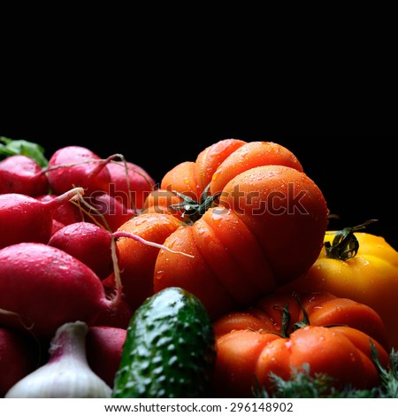 fresh organic vegetables with place for text - stock photo