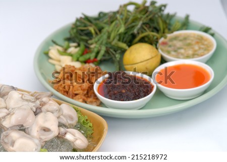 Fresh Oyster Salad,fresh oyster - served with of chili, garlic and lemon.,