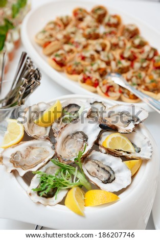 Fresh oysters and another dishes on table - stock photo