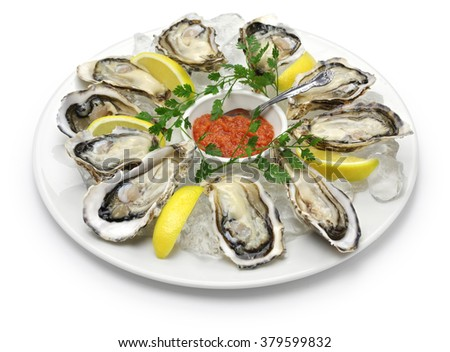 fresh oysters plate isolated on white background - stock photo