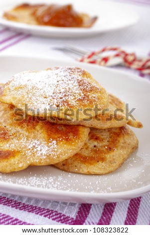 Fresh pancakes with sugar.