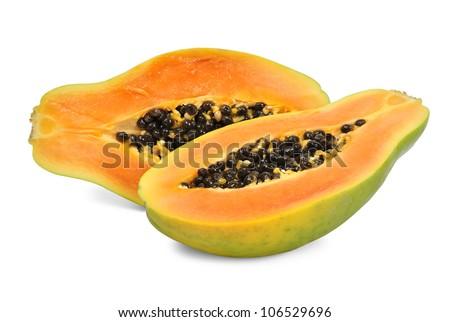Fresh papaya isolated on white background - stock photo