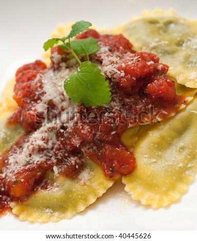 Fresh pasta dish with tomato and basil sauce and grated parmesan - stock photo