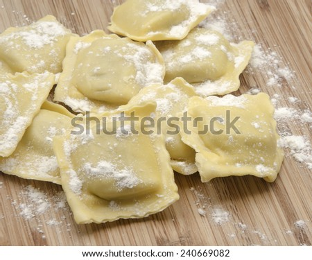 Fresh pasta ravioli filled with meat