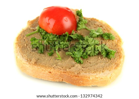 Fresh pate on bread, isolated on white