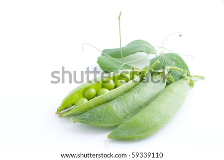 fresh pea fruit with green leaf isolated on white background