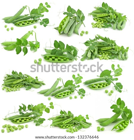 fresh pea with green leaf isolated on white background, collection - stock photo