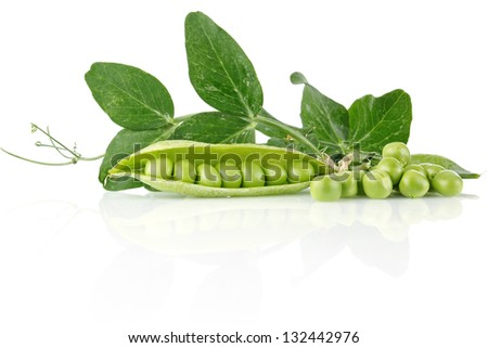 fresh pea with green leaves isolated on white background - stock photo
