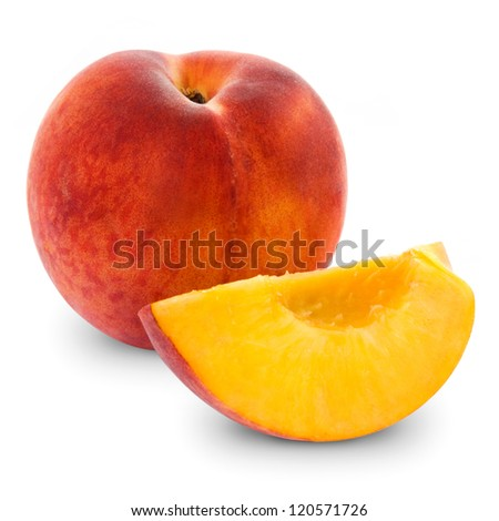 fresh peach fruits and half. Isolated on white background - stock photo