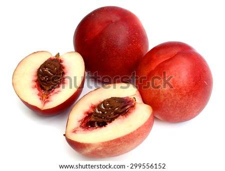 fresh peach fruits isolated on white