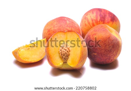 Fresh peach on white background  - stock photo