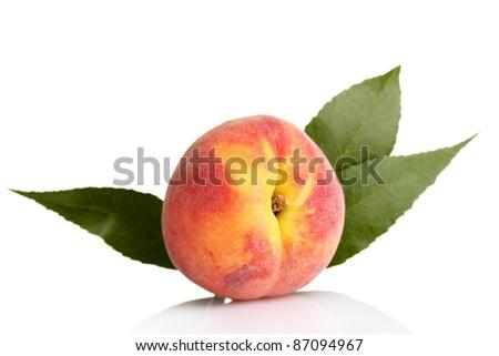 Fresh peaches isolated on white - stock photo