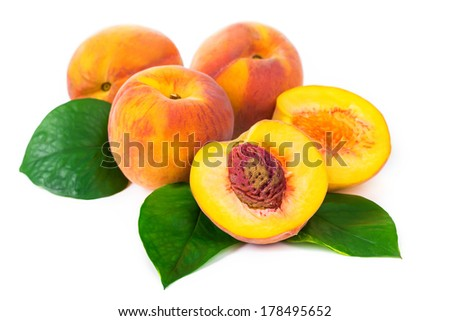 fresh peaches on white background - stock photo