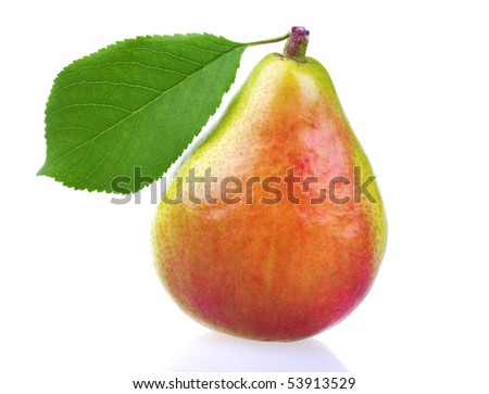 Fresh pear with leaf isolated on white background - stock photo