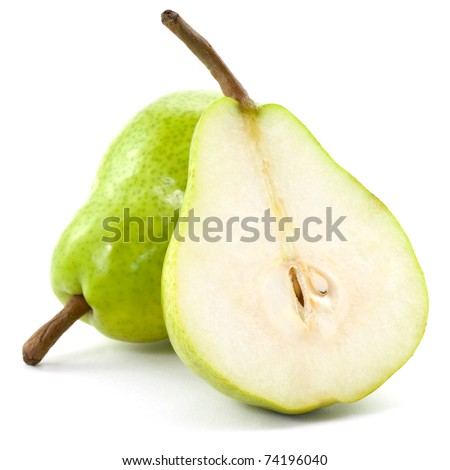 fresh pears half isolated on white background - stock photo
