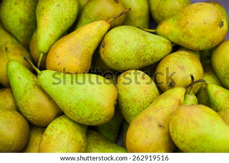 Fresh pears. Juicy pear. Fruits on market