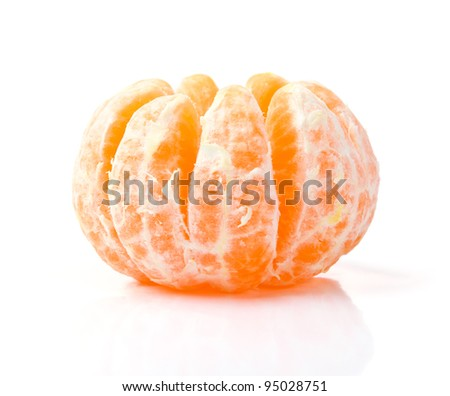 Fresh Peeled Mandarin Isolated on White Background - stock photo