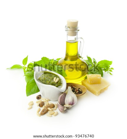 Fresh Pesto and its ingredients / isolated on white - stock photo