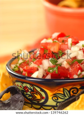 Fresh pico de gallo salsa with tortilla chips - stock photo