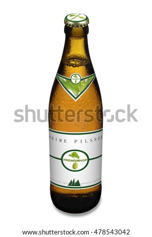 Fresh pilsner beer bottle