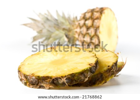 Fresh pineapple on a white background. Close up.