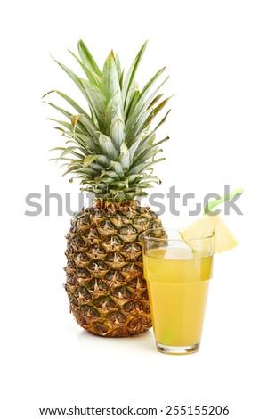 fresh pineapple on white  - stock photo