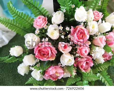 Fresh pink and white flowers.