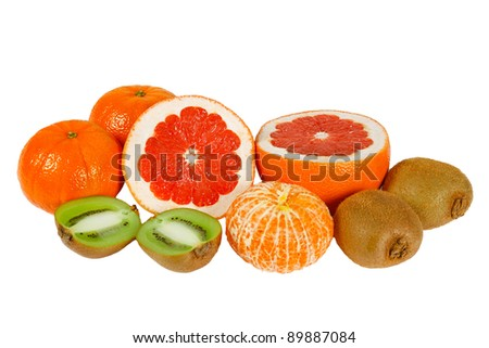 Fresh pink grapefruit, tangerine and kiwi on a white background
