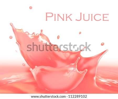Fresh Pink Milkshake Splash making amazing waves and drops, Digital Painting - stock photo