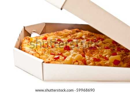 Fresh pizza in open box isolated on white