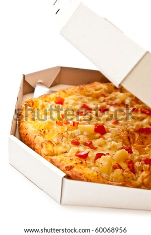 Fresh pizza in open box isolated on white. Light shadow - stock photo