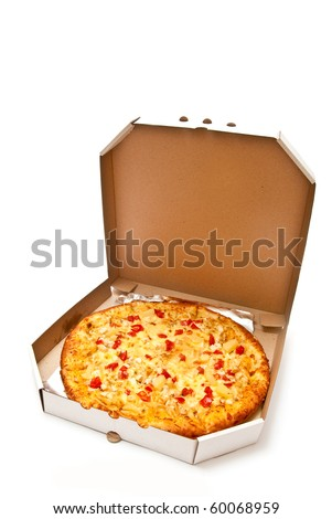 Fresh pizza in plain open box isolated on white background. Light shadow - stock photo