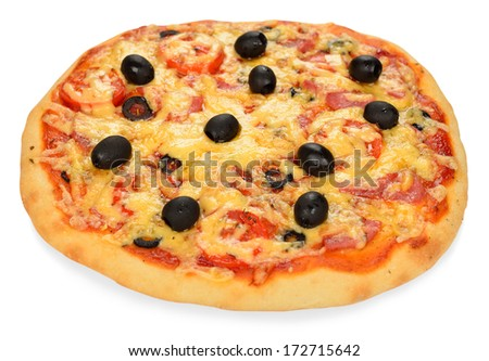 Fresh pizza isolated on white background