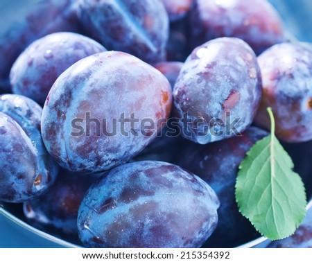 fresh plums - stock photo