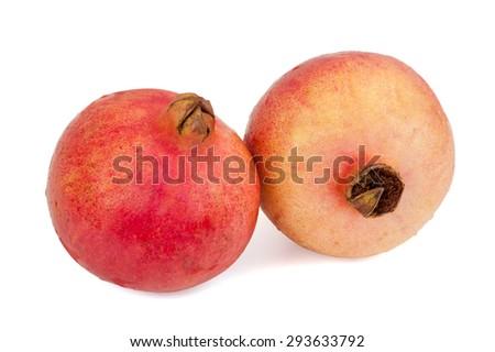 Fresh pomegranate fruits isolated on white background  - stock photo
