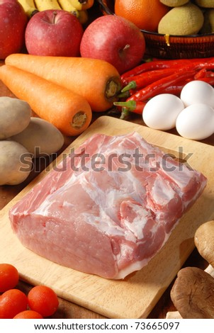Fresh pork loin chops on the wooden cutting board - stock photo