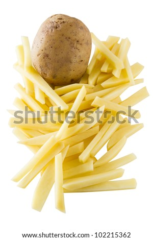 Fresh potato vegetable cutted to cook french frie. Isolated on white with clipping path. - stock photo