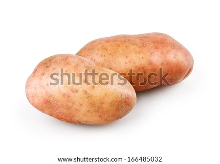 Fresh potatoes on white background