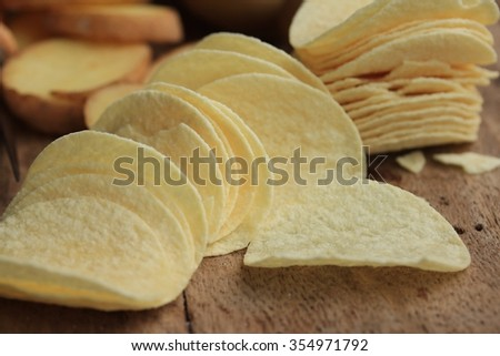 fresh potatoes with potato chips