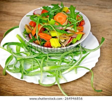Fresh prepared salad - vegetarian food (vegan food) - stock photo