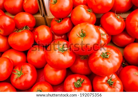 Fresh produce at the Farmers Market in early Summer. - stock photo