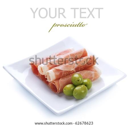 Fresh prosciutto rolls closeup. - stock photo
