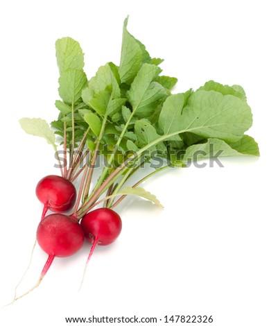 Fresh radish. Isolated on white background  - stock photo