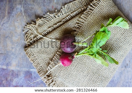 Fresh radish vegetable on wooden background