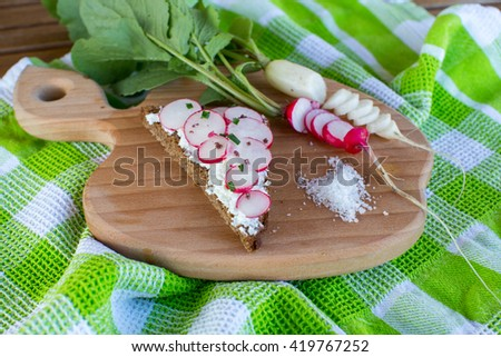 Fresh radishes and green onion and bread on the wood plate, summer photo. - stock photo
